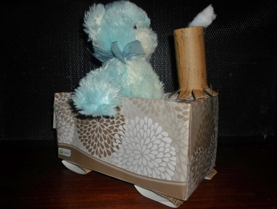 train craft activity, train craft with tissue box