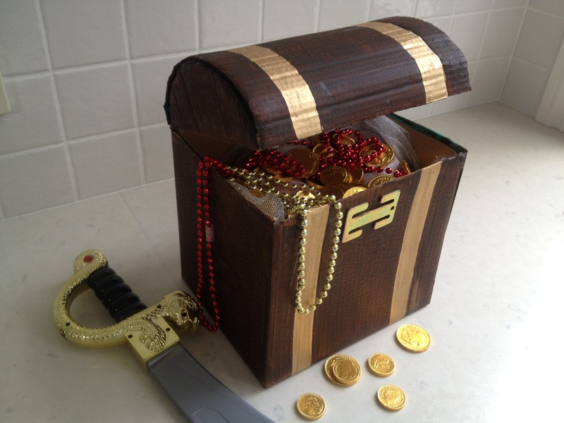 treasure chest, cardboard treasure chest, pirate treasure ...