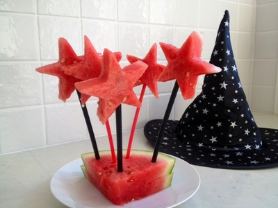 watermelon wizard wands, fun kids party food, magic kids food, witch wizard fairy party food