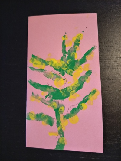Wattle Flower Fingerpaint Greeting Card
