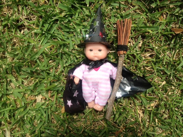 witch, doll, preschooler, witch kids craft, doll kids craft, dress up witch kids, outfit for dolls halloween  - Doll's Halloween Costume