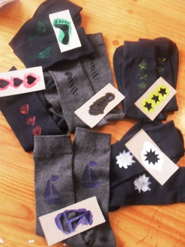 Stencilled Socks for Dad