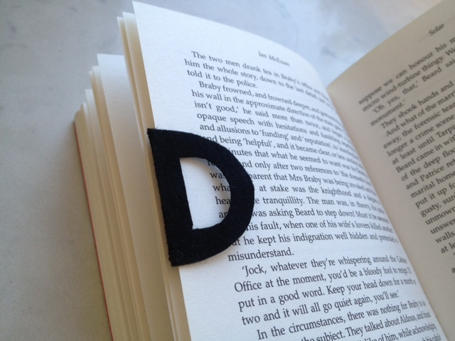 D for Daddy homemade fathers day present felt bookmark on book