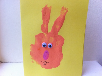 Easter, card, rabbit, handprint, painting, googly eyes, art, child, preschool