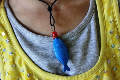 Fish necklace, recycled