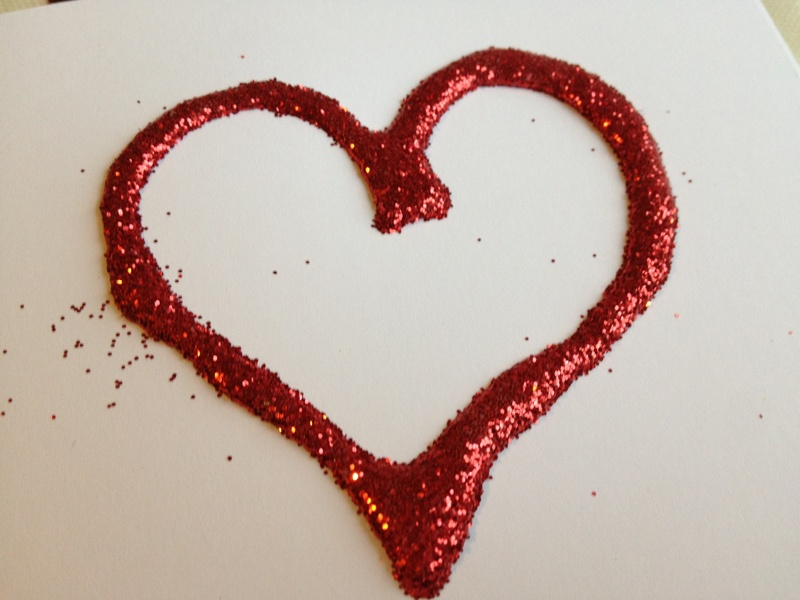 Glitter, glue, heart, preschool