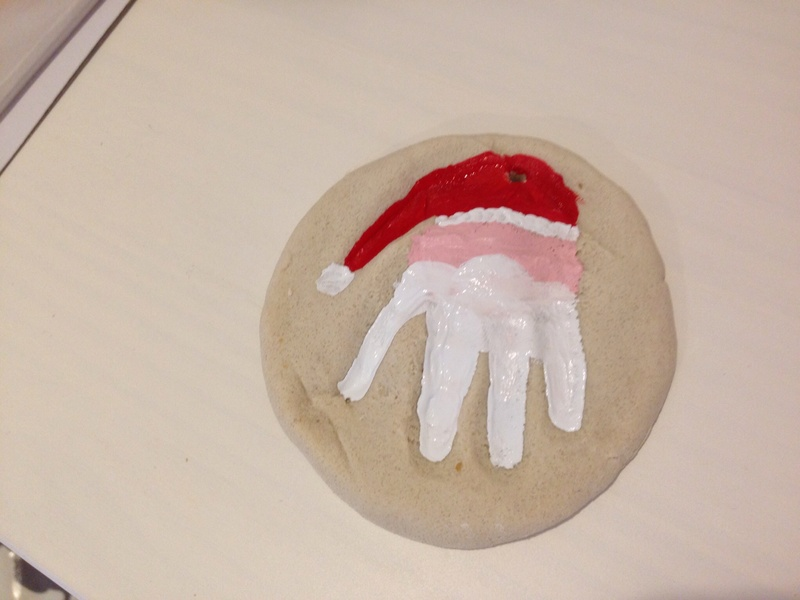 Painting salt dough, acrylic paint on salt dough 