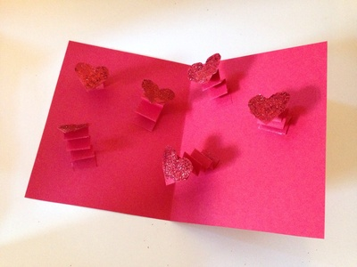 Leaping heart card, pop up heart card, pop up valentines card, springy heart card