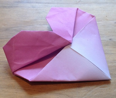 Pink, origami, heart