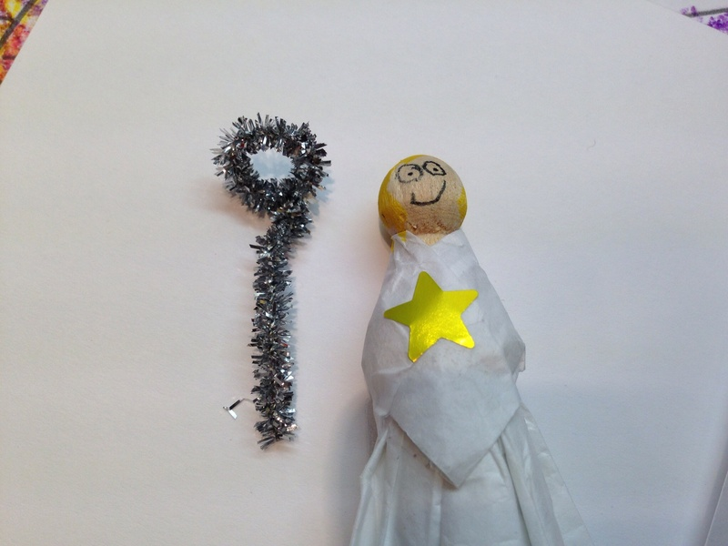 Angel with tissue paper dress  - Wooden Peg Angel