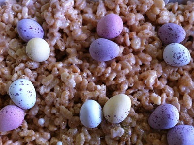 Rice Krispies, Easter, marshmallows, party cakes, kids, any age