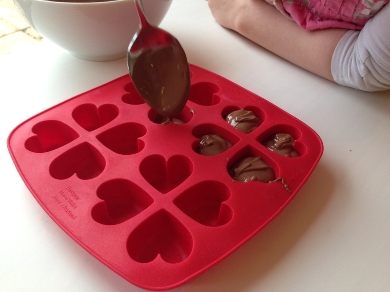 IKEA heart mold, chocolate, making chocolate at home