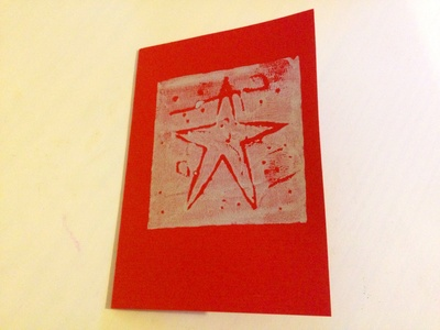 Silver star greeting card, invitation, Christmas card