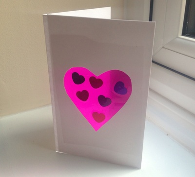Suncatcher heart card, pink heart window card, kids craft heart card, heart craft