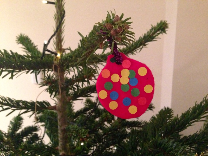 Felt shapes, homemade Christmas baubles