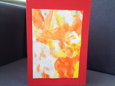 Toddler, finger painting, birthday card