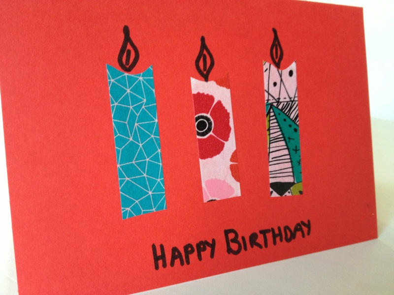 Washi tape, easy, simple, birthday, candle  - Washi Tape Candle Card
