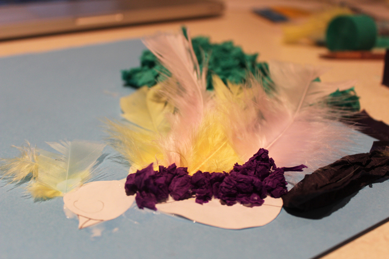 bird picture, kids crafts, arts and crafts, crepe paper bird  - Crepe Paper Bird