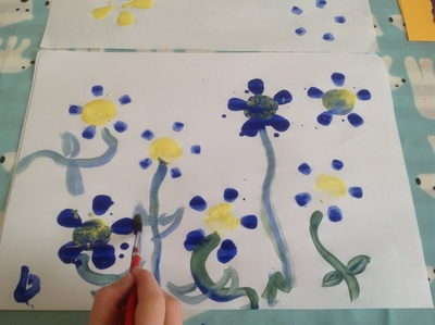Blue, yellow, green, paper, paint flowers, plastic bottle