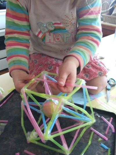 egg frame, straw, tape