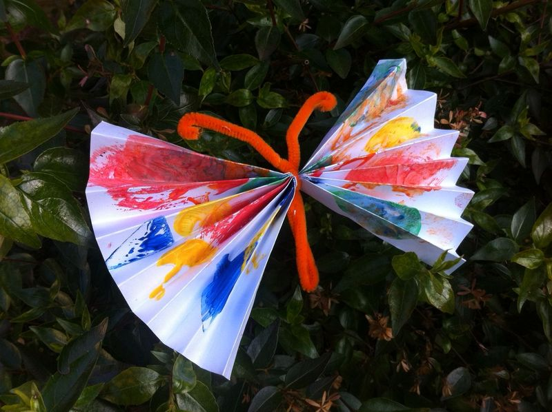 butterfly, accordian style, pipe cleaner, toddler art  - Toddler Art Butterfly