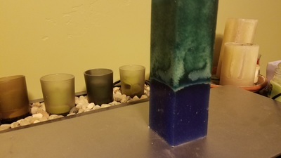 Candle made with essential oils.