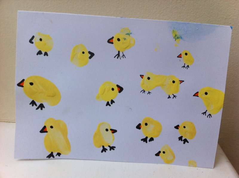 card, finger print, finger painting, painting, children, kids, craft, easter card, chick