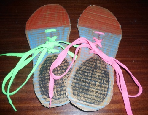 cardboard shoes with shoelaces craft activity  - Cardboard Shoes with Shoelaces