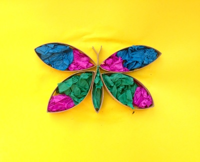 Cardboard tube butterfly, cardboard tube with tissue paper picture, butterfly kids craft
