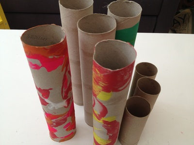 Cardboard tube, toilet roll, marble, games