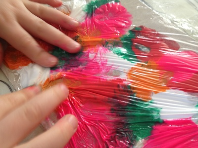 Cling film, plastic wrap, painting, preschool, messy play