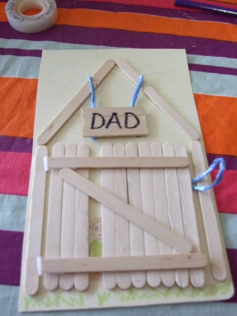 trace, cup, coaster, popsicle stick  - Father's Day card