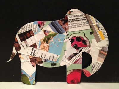 collage, magazine, toddler, kids, children, pre school, simple, easy, paper cut, elephant, outline, craft, decoration, glue
