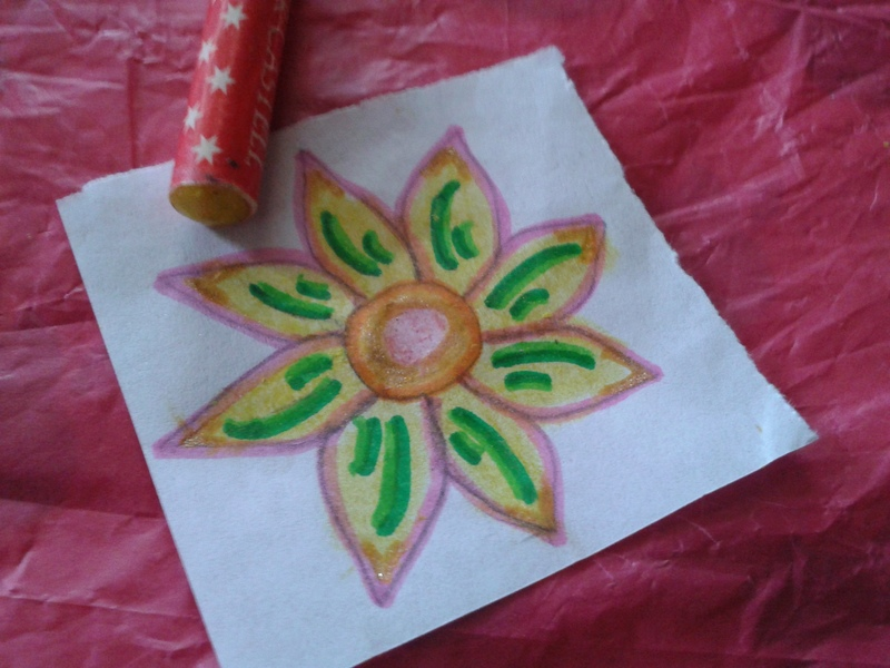 Color the petals with crayons  - Paper Flower Ring