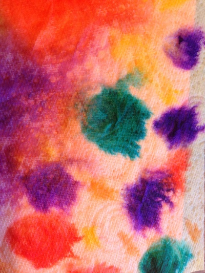 Colour spread art, paper towel pens and water, kitchen roll art, kids craft colour