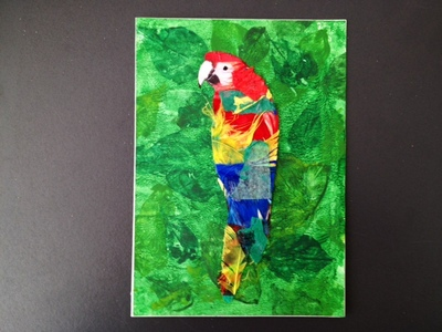 colourful parrot in a leafy jungle greeting card
