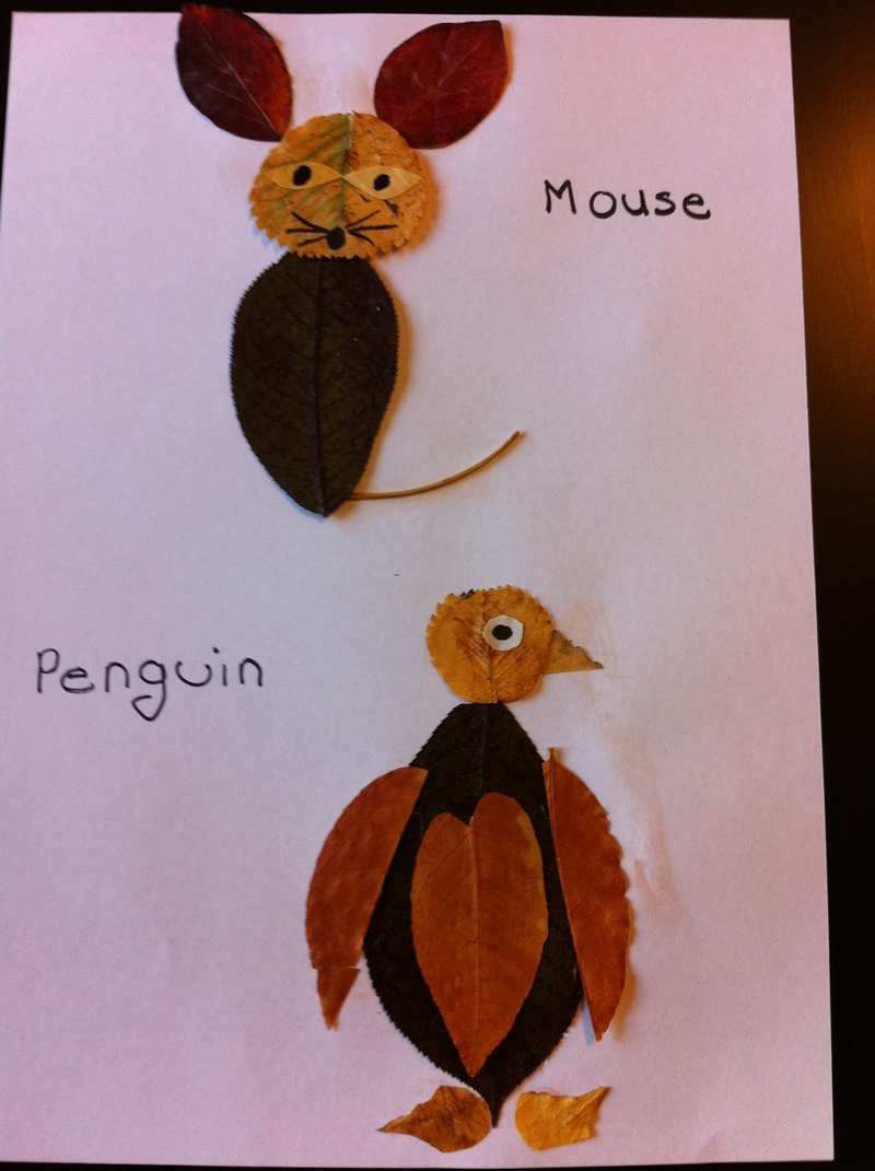 completed pictures  - Pressed Leaf Animals