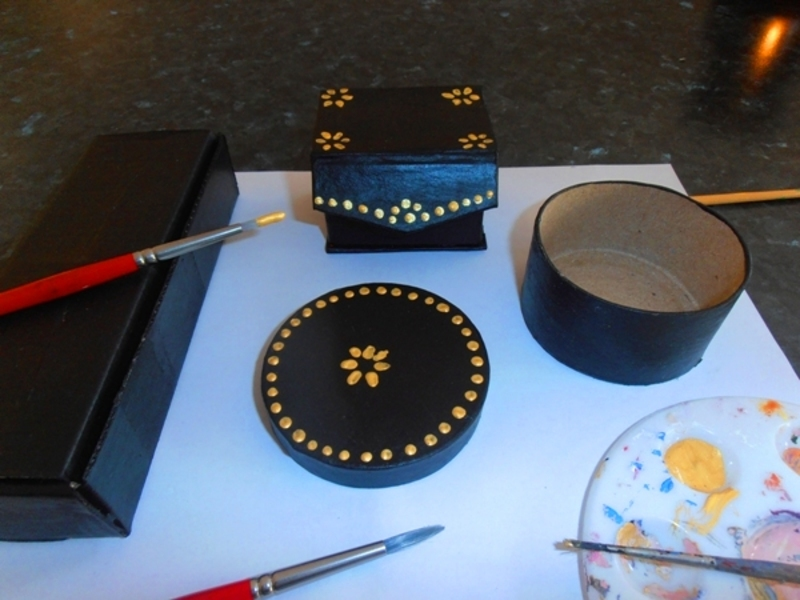 upcycling  - Gold on Black Treasure Boxes