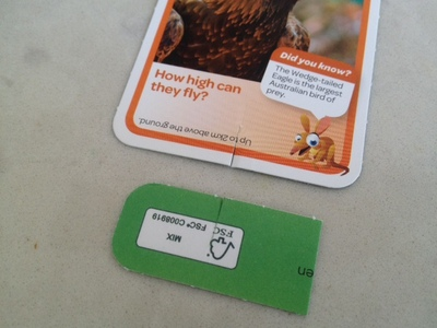 cutting slots to make cards stand up, woolies aussie animals cards, woolies cards, aussie animals, aussie animals cards