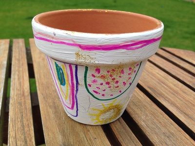 Decorated clay pot
