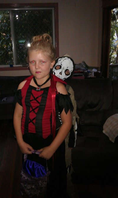 Dressed up for Trick or Treat night