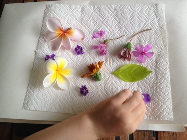 dried flowers laminated placemat kids craft mothers day  - Pretty Dried Flower Placemat