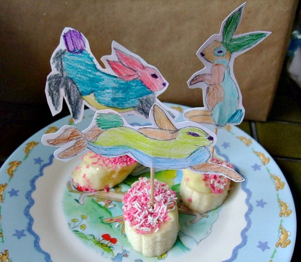 Easter Rabbit Toppers with Choc Banana Treats