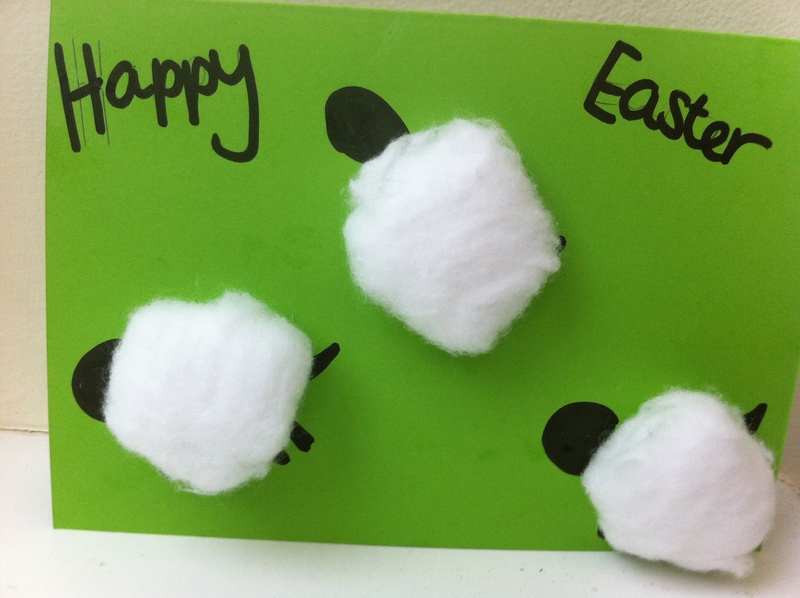 easter, sheep, card, children, craft, greeting card, art