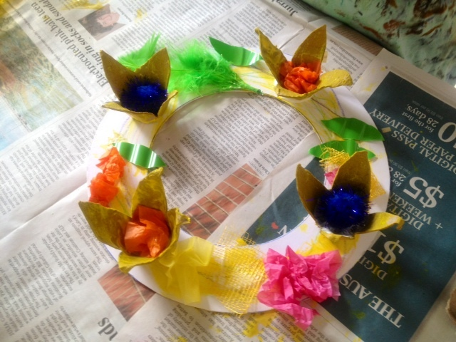 easter wreath door decoration kids craft spring