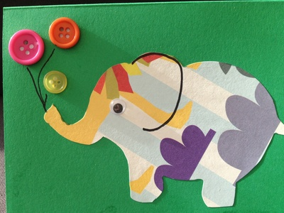 Elephant, button, balloon, card
