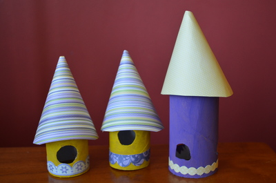 Fairy House, candle holder, toilet roll, cardboard tube,
