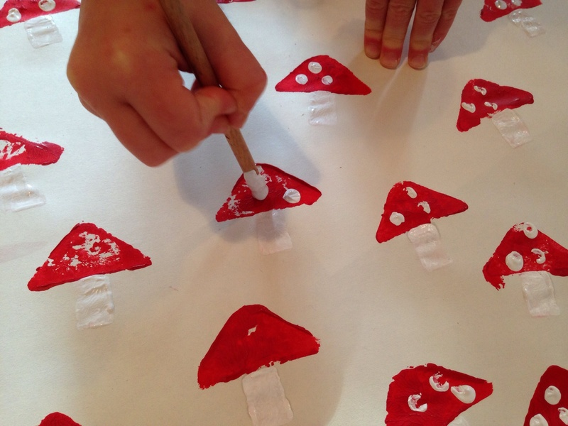 Fairy toadstool homemade wrapping paper, fairy toadstool potato print, kids potato print wrapping paper, fairy toadstool craft, fun wrapping ideas  - Fairy Toadstool Potato Print Wrapping Paper