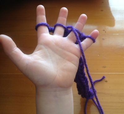 finger knitting kids knitting activity with hands