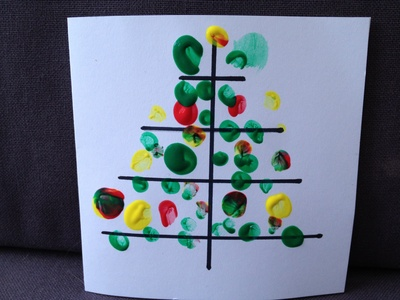 Fingerprint, tree, Christmas, preschool